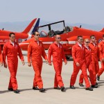 The Royal Air Force Aerobatic Team (The Red Arrows) perform one of their world famous formal see off's at RAF Akrotiri, Cyprus.