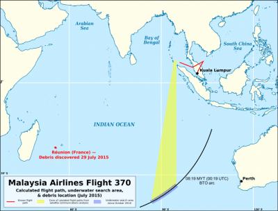 Reunion debris compared to MH370 flight paths and underwater search area