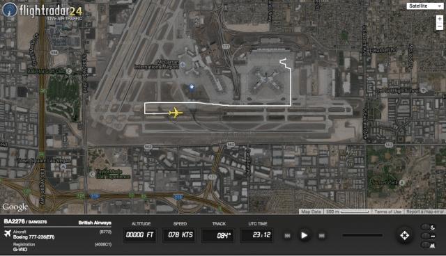Flightradar24 image showing route to runway