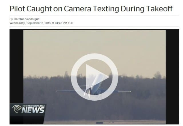 Pilot Caught on Camera Texting During Takeoff