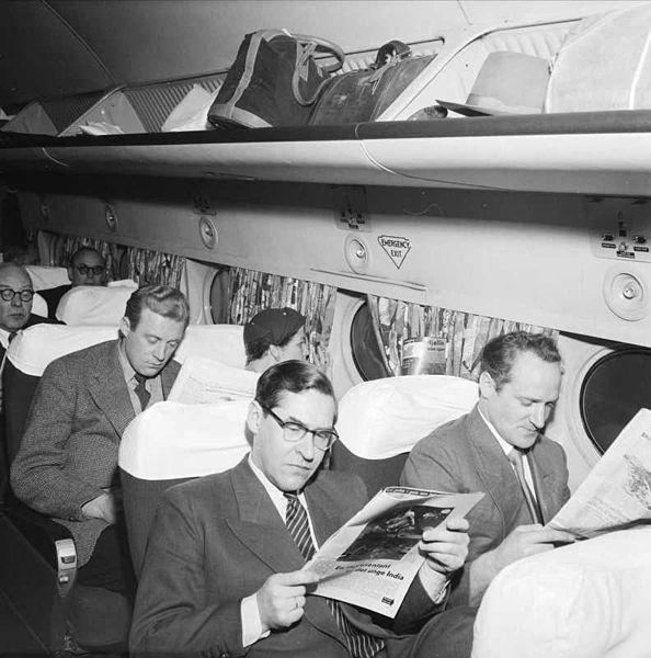 Passenger cabin of a DC-4 in 1953 by Leif Ørnelund