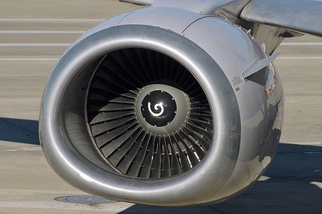 Engine inlet of a CFM56-3 engine on a Boeing 737-524 by Kenneth Iwelumo