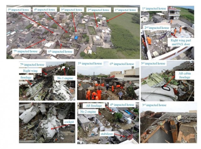 Aircraft main wreckage distribution and damaged  buildings
