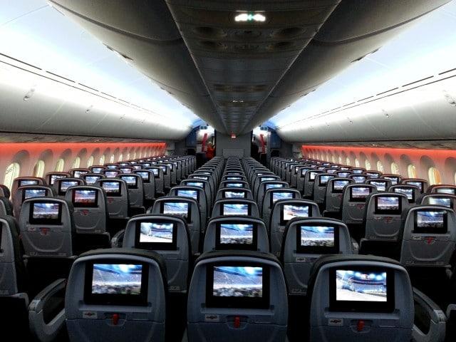 Passenger cabin of a Jetstar Boeing 787 from Jetstgar Airways