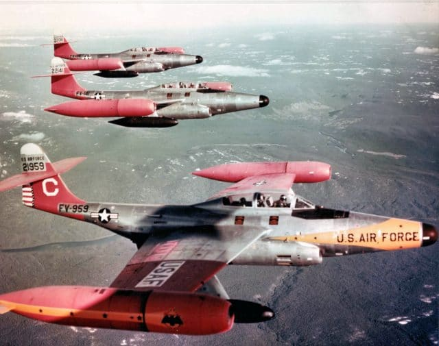 U.S. Air Force Northrop F-89D-45-NO Scorpion interceptors of the 59th Fighter Interceptor Squadrons, Goose Bay AB, Labrador (Canada), in the 1950s. 52-1959 in foreground, now in storage at Edwards AFB, California. USAF Museum