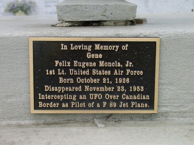 Photograph of plate on memorial for Felix Eugene Moncla, Jr., taken in Sacred Heart Cemetery in Moreauville, Louisiana in 2002 by Gord Heath.