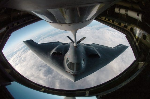 A US Air Force (USAF) B-2 Spirit bomber refuels from an Illinois Air National Guard (ILANG) KC-135 Stratotanker, 2005