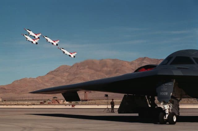 B-2 Spirit Bomber parked on the Nellis AFB, 1997.