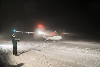Arrival of the Twin Otter at Amundsen-Scott South Pole Station by Robert Schwarz, NSF