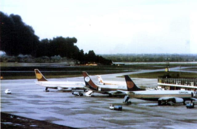 British Airtours Flight 28M as it turned from Runway 24 to Link D. Note right rear escape slide was already deployed.