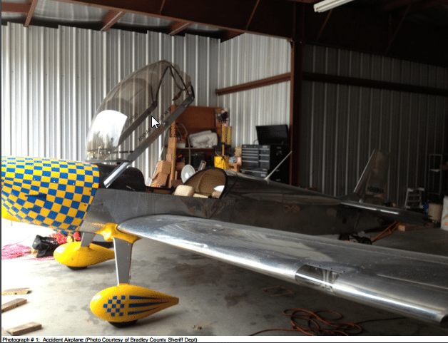 Accident Airplane courtesy of Bradley County Sheriff Department