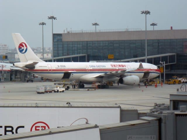 China Eastern Airlines Airbus A330-343 (B-6506) parked at Shanghai Hongqiao. Photograph by Can Pac Swire.