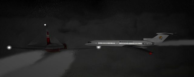 Bashkirian Airlines Flight 2937 DHL Flight 611 moments before the collision (Re-creation by Anynobody)