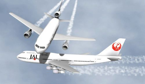"The DC-10 passing just above the Boeing 747. Re-creation by ""anynobody""."