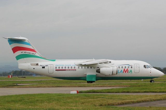 The LaMia Avro RJ85 accident aircraft, taken by Graham of GSAirpics