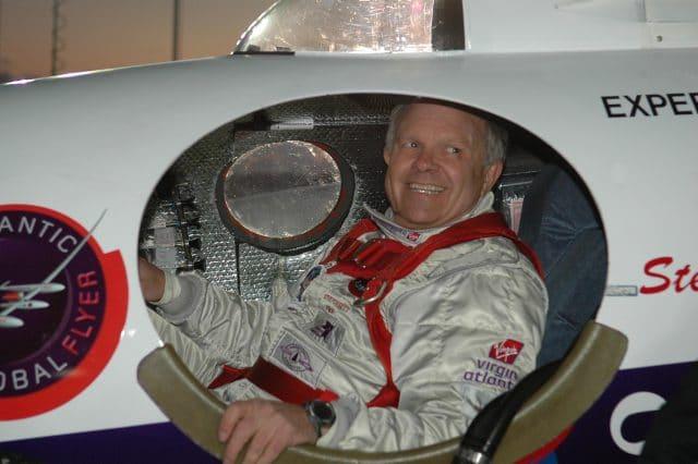 Steve Fossett in GlobalFlyer cockpit