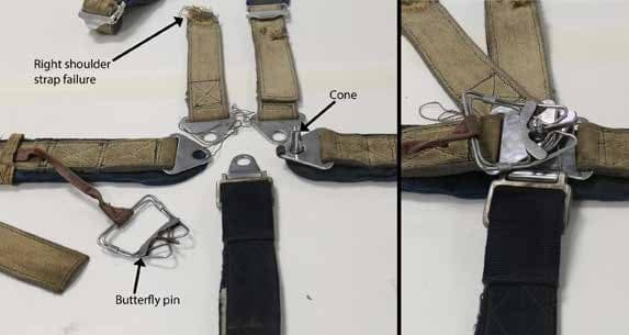 Front seat 5-point harness as found (right) and all straps secured (left)