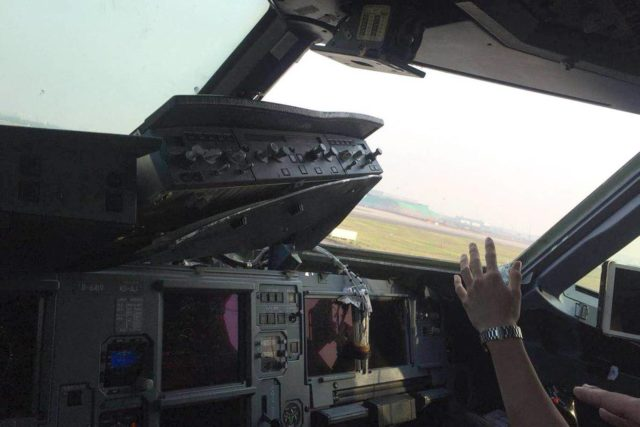 The state of the cockpit (photo unattributed from Evening Standard)