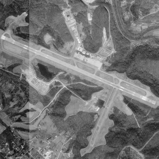 Aerial photo of Tri-State Airport in West Virginia, United States, March 1995