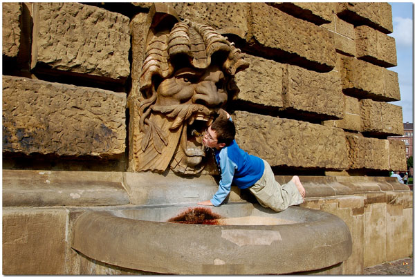 Connor at the Wasserturm Fountain