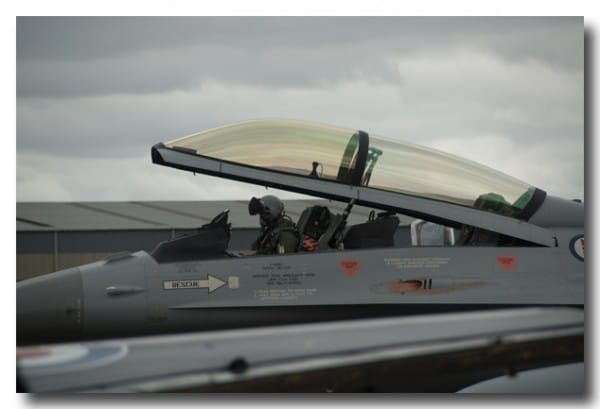 F16 pilot wearing mask